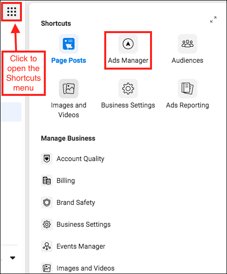 ads-manager-shortcuts-menu